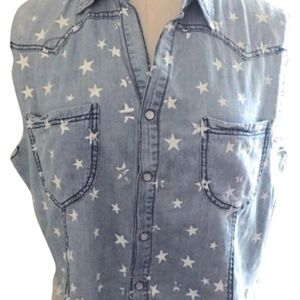 LF store Millau star patterned chambray top S